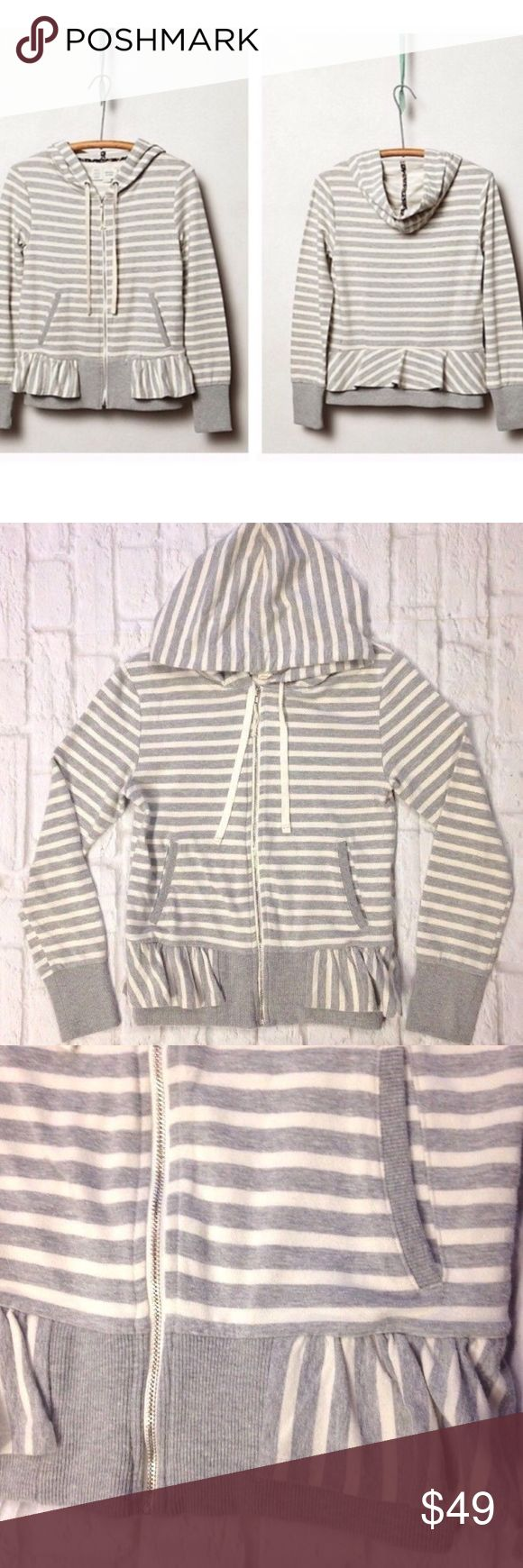 Anthropologie Saturday Sunday Peplum zip up hoodie Beautiful Anthropologie, Saturday Sunday Peplum gray striped zip-up hoodie Women size Small Excellent condition with light wear It's too small for me or else I would live in it...too cute! Anthropologie Tops Sweatshirts & Hoodies