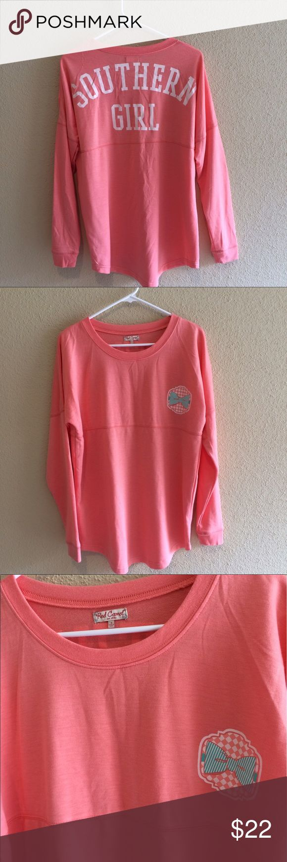 NWOT Southern Girl Sweeper Top Description: Long sleeve Southern Girl sweeper top. Super comfy and soft. Color: Coral Glow Size: Small retail: $36 Brand: Red Camel Condition: NWOT. New without tags. Never worn, never washed. Just cut off tags. Red Camel Tops Tees - Long Sleeve
