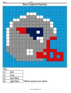 New England Patriots- Color by Number Answer Key