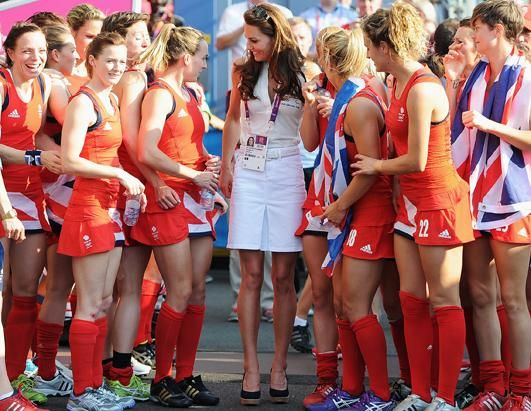 Catherine, Duchess of Cambridge, center, talks to Team GB after their Women's Hockey bronze medal match against New Zealand on Day 14 of the London 2012 Olympic Games, Aug. 10, 2012 in London, England. (Pascal Le Segretain/Getty Images)