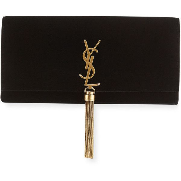 Saint Laurent Kate Monogram Velvet Clutch Bag ($1,750) ❤ liked on Polyvore featuring bags, handbags, clutches, black, snap purse, flap handbags, monogrammed purses, velvet purse and flap purse