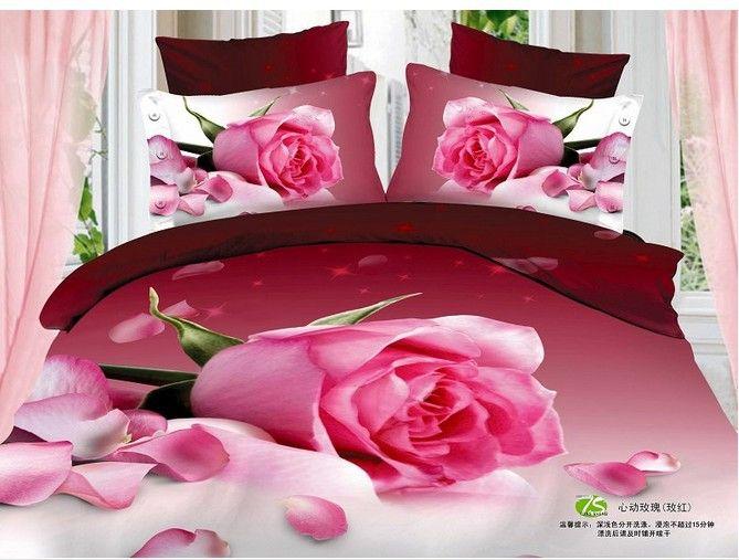 Novo estilo de roupas de cama grande exclusivo red rose algodão 4 pcs cama jogo 3d imprimir lençol queen