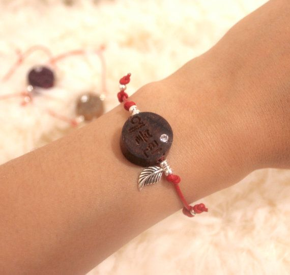 Wood Personalized Pendant, Korean Initial Custom Engraved carved Bracelet, leather 925 silver