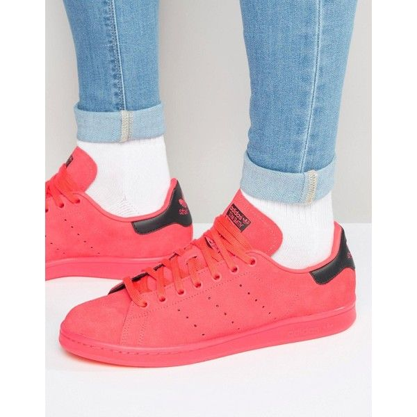 adidas Originals Stan Smith Sneakers In Red S80032 ($91) ❤ liked on Polyvore featuring men's fashion, men's shoes, men's sneakers, red, mens red sneakers, mens red shoes, mens leather shoes, mens lace up shoes and mens leather sneakers