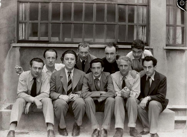 Parisian Surrealist group: Tristan Tzara, Paul Eluard, André Breton, Hans Arp, Salvador Dalí, Yves Tanguy, Max Ernst, René Crevel, and Man Ray, 1933. Photograph: Anna Riwkin