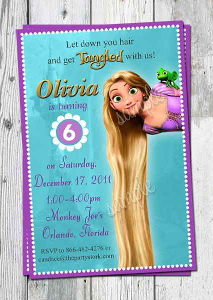 Girls Custom Tangled Birthday Invitations: Rapunzel Invitation Printables, Print Out, Photo Card. Printables available to match.