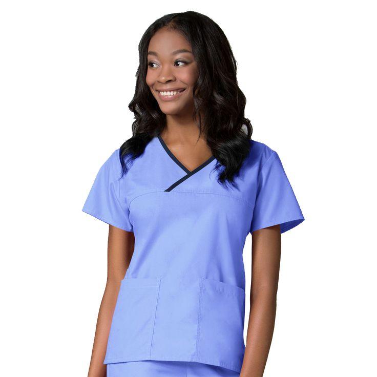 Maevn Contrast Mock Wrap Scrub Top 1026 | Maevn Uniforms | – ClothesRack Ceil Blue Nurses uniforms, Ceil Blue Nurses Scrubs, Ceil Blue Nurses Tunics