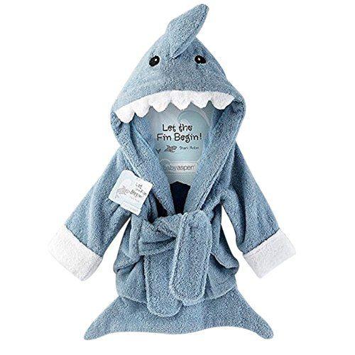 URAQT Mignon Animal Peignoir Sortie de Bain Pour Bébé Nouveauté De Style Animé Robe de Chambre Requin Gris: 100% tout neuf de haute qualité…