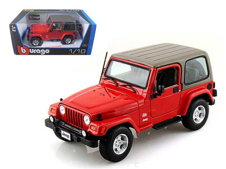 Jeep Wrangler Sahara Red 1/18 Diecast Model Car by Bburago