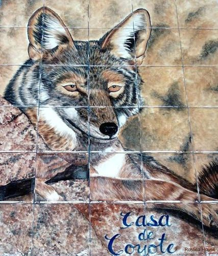 "A rustic tile mural looks pretty on a kitchen wall backsplash, bathroom wall or table-top. Coyote mural sku 19013 is available in custom made dimensions. rustic tiles can be also installed in swimming pools, fountains and outside of the buildings.Tile Mural ""Coyote"" by Rustica House. #RusticaHouse"