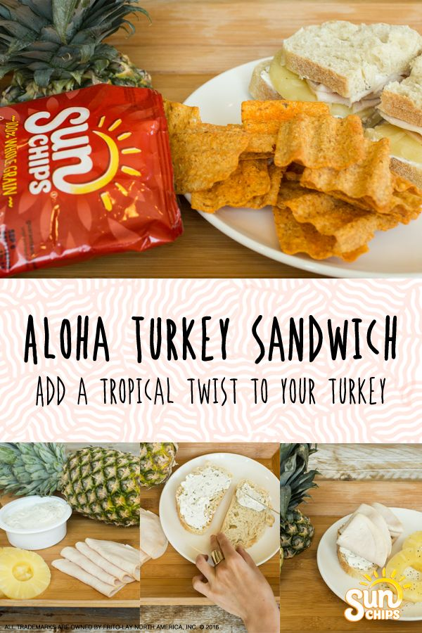 Say aloha to this flavorful twist on the traditional turkey sandwich! Add pineapple, herbed cream cheese and delicious bread for a unique meal. Pair with SunChips® Garden Salsa® snacks for a crunchy side that's full of whole grain goodness. Try this recipe today!