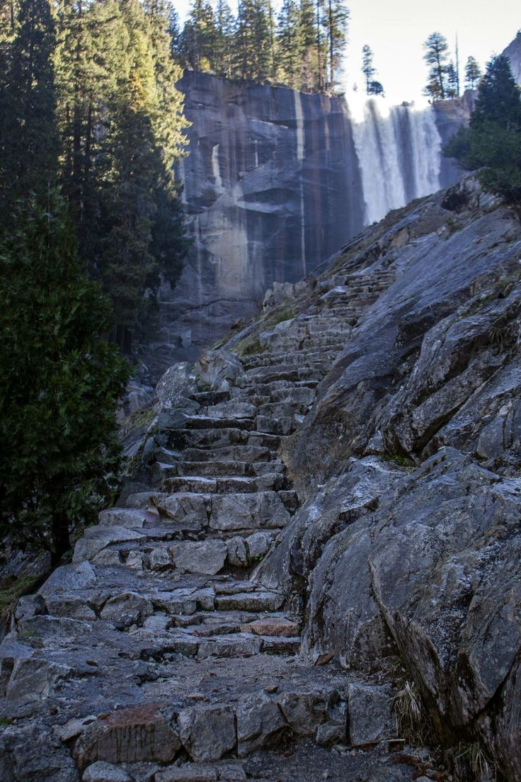 The rock steps of the Mist Trail going to the top of Vernal Falls. Yosemite National Park, California