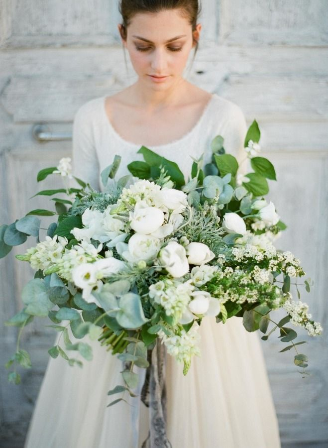 oversized white and green unstructured bridal bouquet
