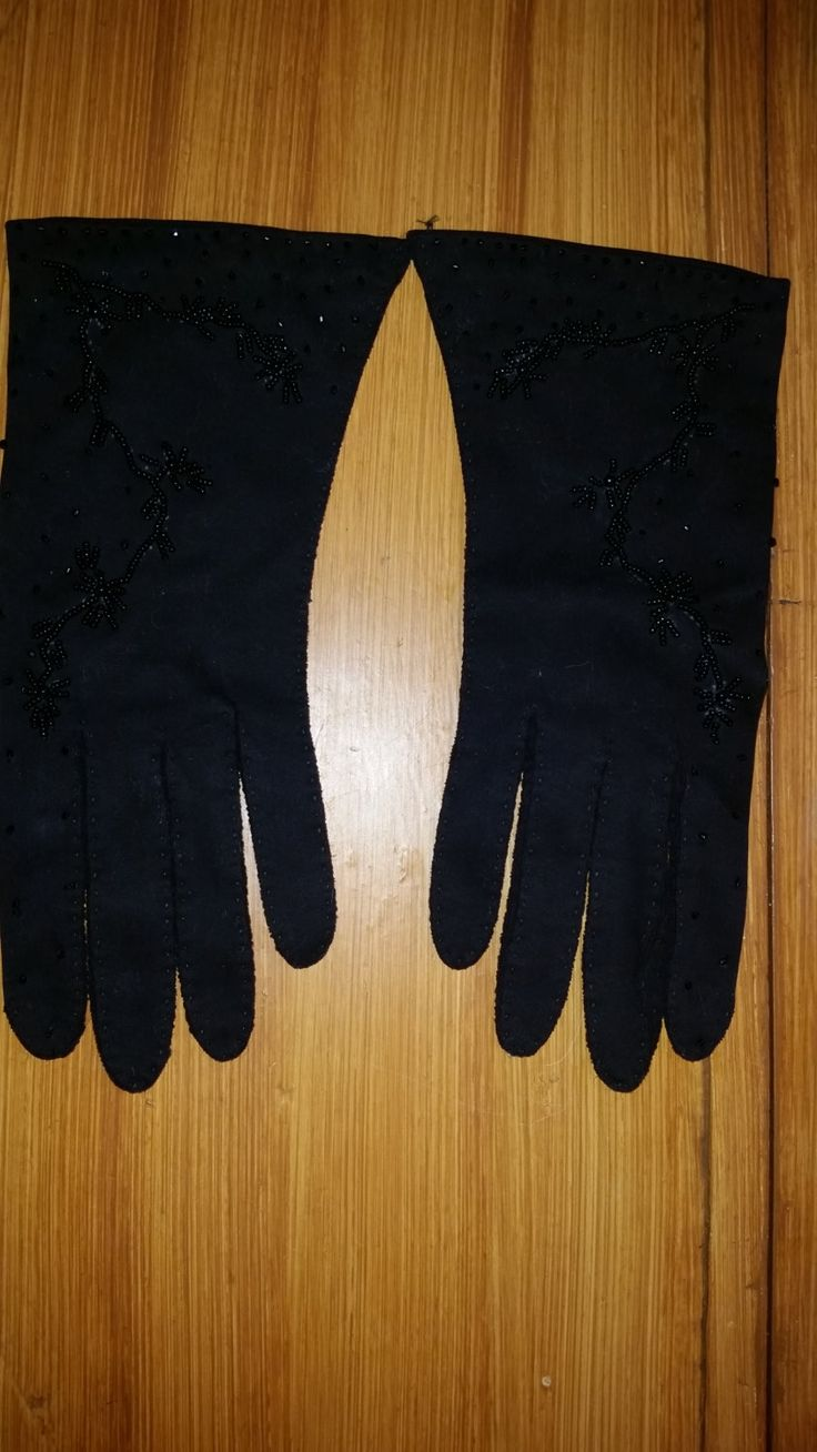 60's Black Cotton Beaded Dress Gloves Wrist Length Size 8 Made in British Hong Kong Hand Stitched Formal Evening Gloves by ZoomVintage on Etsy