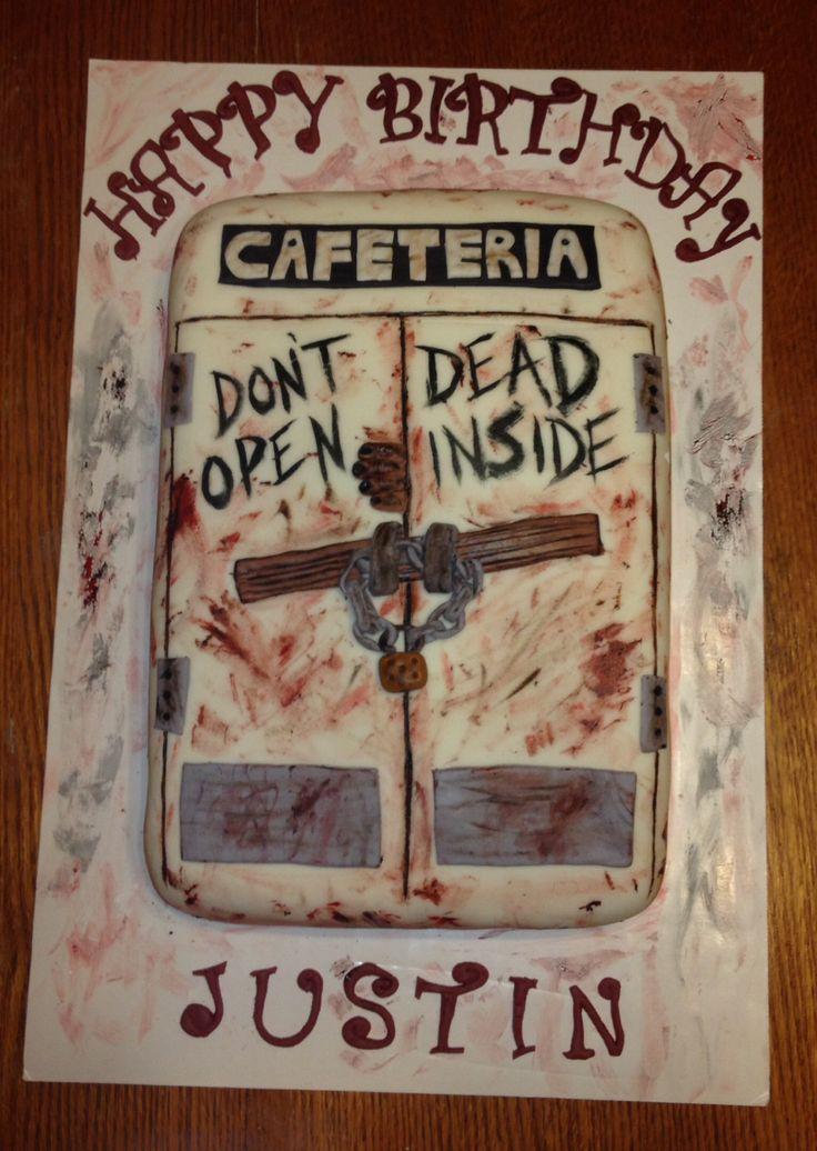 Walking Dead cake for my husband, marshmallow fondant, zombies