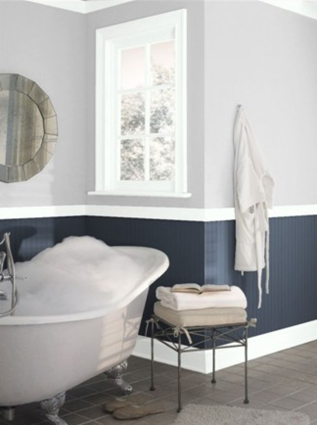 Benjamin Moore Hale Navy And Graytint Bathrooms Two Tone Walls Room Paint Kitchen Paint