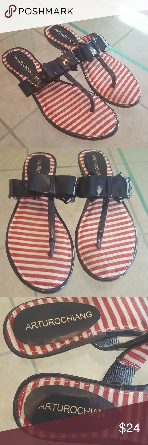 NEW! Arturo Chiang Navy & Red & White Sandals Adorable and barely worn. Navy patent leather and red and white stripes. Perfect for summer! Arturo Chiang Shoes Sandals