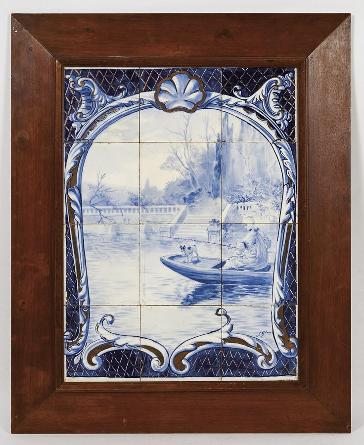 JORGE COLAÇO -  1868-1942, painel de 12 azulejos Marcas     assinado