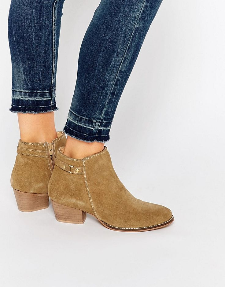 Oasis+Real+Suede+Buckle+Detail+Ankle+Boot