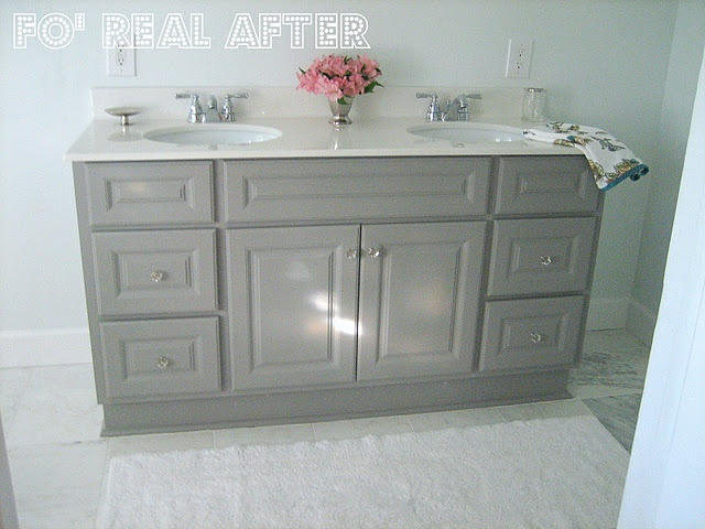 Painted laminated vanity bathroom pinterest for Painting laminate bathroom vanity