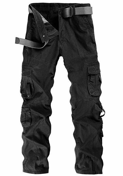 Outdoor Solid Color Multi-Pocket Straight Leg Zipper Fly Cargo Pants For Men