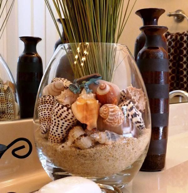Beach Bathroom   nice way to add a tall visual for the counter beach grass  arangement ideasBest 10  Sea shells decor ideas on Pinterest   Display sea shells  . Seashell Bathroom Decor. Home Design Ideas