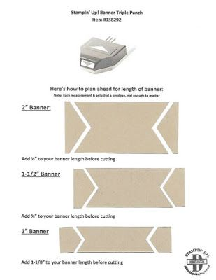 Stampin' Up! Banner Triple Punch. Plan ahead for sizing of your banner due to losing so much when you punch. Here's a cheat sheet for you to print! Debbie Henderson, Debbie's Designs.