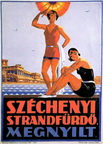 Hungarian Commercial poster 1931 - Opening of Széchenyi Spa #essenzadiriviera