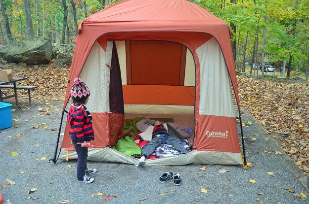I like the idea of having a kids play tent!! A Safe Camp Layout | 31 Things That Will Make Camping With Your Kids So Much Easier