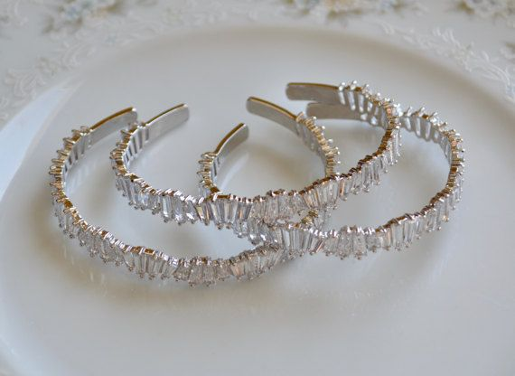Cubic zirconia and silver cuff bangle bracelet by starrydreams