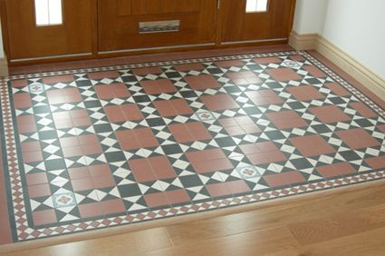 Vintage Tiles - floor under fireplace