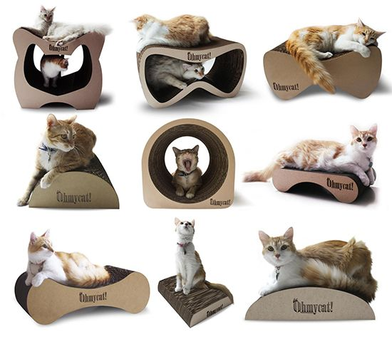 Here's a new line of designer cat scratchers and lounges from Ohmycat! All handmade in Mexico using corrugated cardboard, this collection has some great shapes that look like they'd be a big hit with cats. Lots of styles to choose from ranging from about $12 to $74 US, plus shipping. Available for sale from the Ohmycat! online…