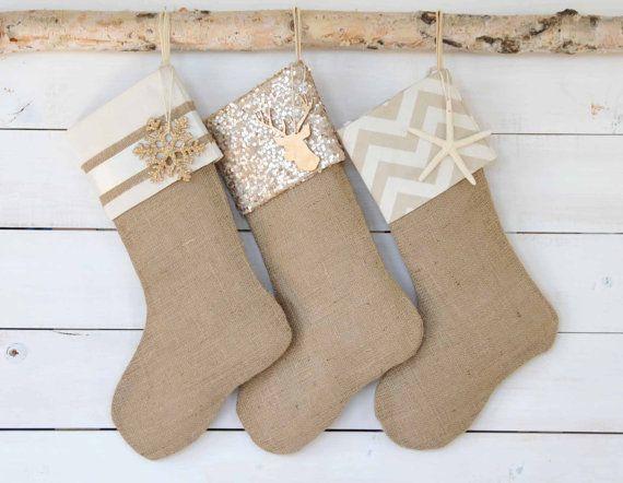 Holiday Sale Christmas Stockings Set of 3 Burlap by TwentyEight12