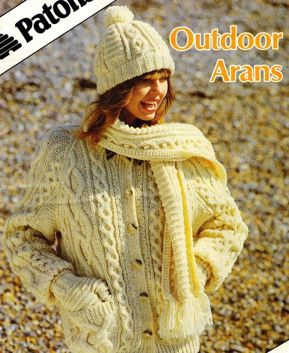 Keep the tradition alive with this cozy vintage pattern from 1987. Originally published in England as part of the Outdoor Arans collection.  Includes instructions to make cozy hats, mittens, and scarves for the whole family using Patons yarn.  Includes General Instructions and notes for reference.  Please note: pattern for the pictured cardigan is not included with this download.  Pattern is in PDF format.