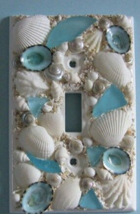 Seashell And Seaglass Encrusted Single Toggle Switch Plate Cover Aqua