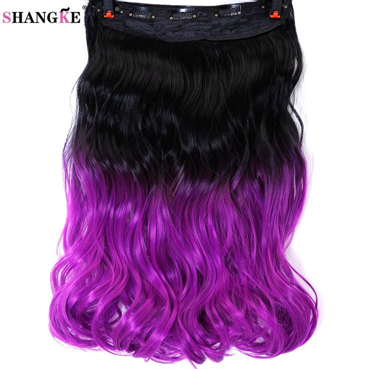 "SHANGKE 24"" 60cm  Wavy Heat Resistant Synthetic Hair Extensions Hairpiece 5 Clips in One Piece Hair Styling Ombre Color"