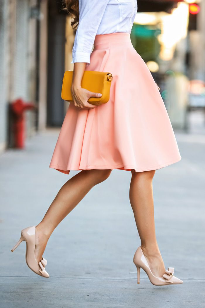 skirt.Midi Skirts, Ladylike Fashion, Full Skirts, Style, Pink Skirts, White Shirts, Ladylike Outfit, Lace Midi Dress, Peaches Skirts