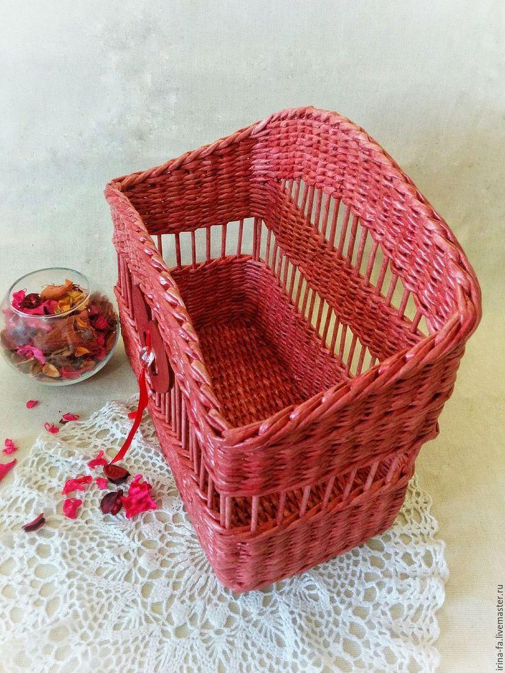 "Купить газетница ""Je t'aime"" - ярко-красный, Газетница, журнальница, корзина плетеная, корзина для дома"