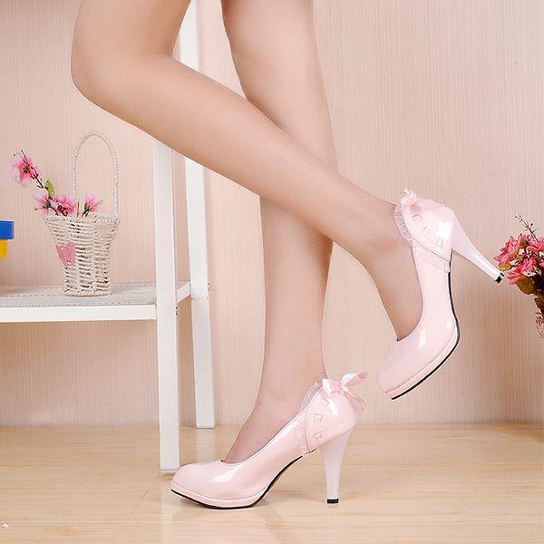 2014 весна Корейский Принцесса Ленты лук тонкий высокий каблук туфли На Платформе ОЛ Пригородных рабочая обувь платье лакированная кожа Насосы