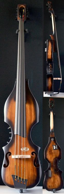 BSX Allegro fretless electric Double Bass Comes in 4 or 5 strings and a number of different colours  Lardys chordophone of the day 2017  --- https://www.pinterest.com/lardyfatboy/