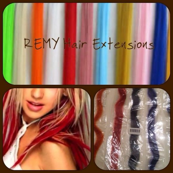 Designline Remy 14 inch hair extensions pick 2 Designline Platinum 14 inch Remy hair extension clip in selling two a set i have colors orange red blue i have multiples as of purple 3 each 2 green 1 strawberry blonde (please check first) i do sell them fast Note model photo is used to show example of how these extensions are used)  Two for $14 mix & match colors  If you want more contact me for special listing  Firm mix and match colors these were $10-$20 retail each at regis hair salon…