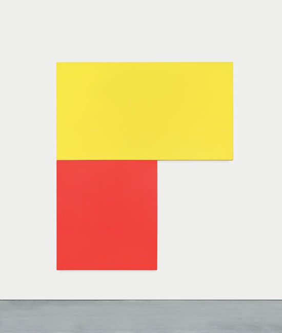Ellsworth Kelly (American, born 1923). Chatham XIII: Yellow Red. 1971. Oil on canvas, two joined panels. 96 x 81 1/2″ (243.8 x 207 cm). Private collection. © Ellsworth Kelly. Photo credit: Photo: D. James Dee.