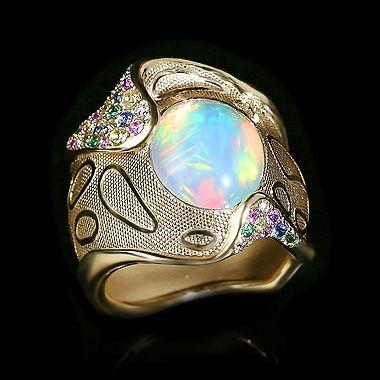 Ring Spectrum - Mousson Atelier Yellow gold, Opal 4,04 ct., Diamonds, Multicolored sapphires, Tsavirites