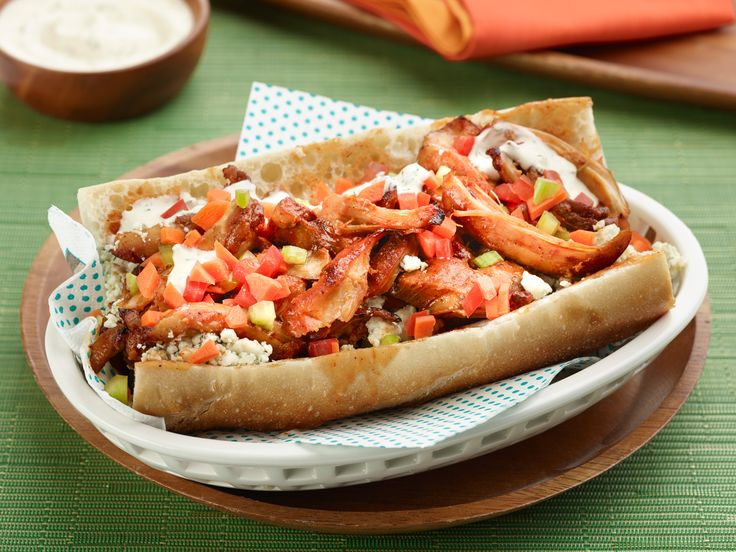 Buffalo Chicken Sub Recipe : Jeff Mauro : Food Network - FoodNetwork.com...Looks delicious.  CAN PUT ON A REALLY LONG LOAF & CUT UP FOR A PARTY!!!