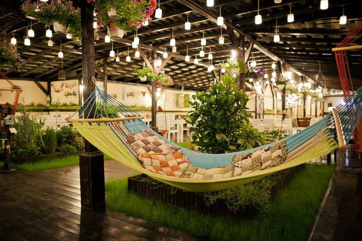 Hammock and lights on the terrace