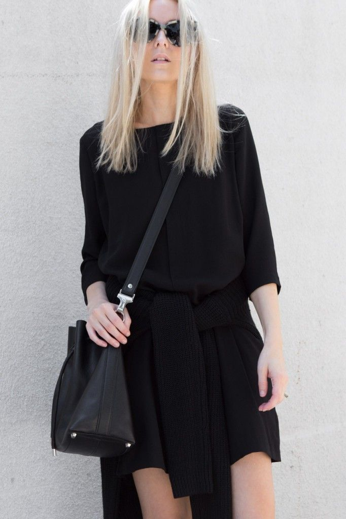 """justthedesign: """"Best All Black Outfits: Figtny is wearing a 3056 black tunic dress with an Oak And Fort sweater """" www.fashionclue.net 
