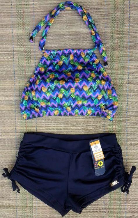 4d5681d0e924 conjunto biquíni top cropped estampado e sunkini | biquíni em 2019 ...