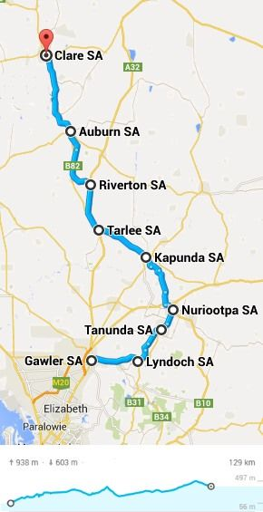 Cycling the Barossa and Clare valleys map. Cycle Traveller