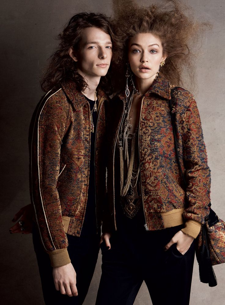 Gigi Hadid and actor Mike Faist in Saint Laurent photographed by Patrick Demarchelier for Vogue, April 2017.