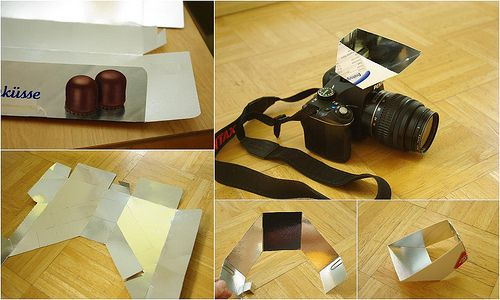 DIY lightscoop for bouncing your popup flash into the ceiling or wall.